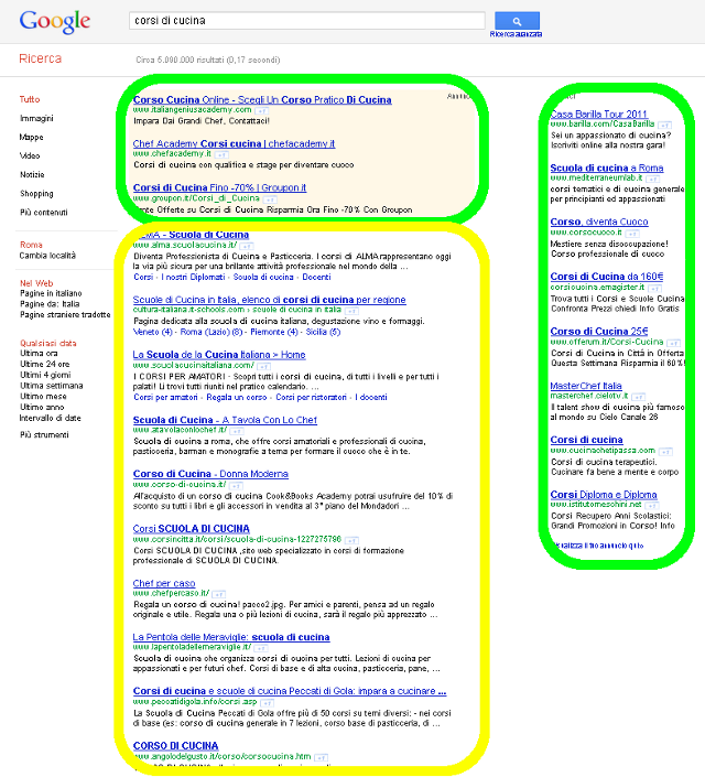 Pagina dei risultati di ricerca in Google